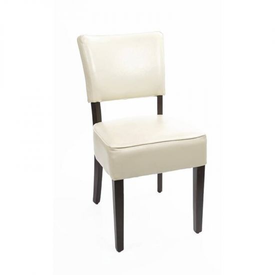 Bolero Chunky Faux Leather Chairs Cream (Pack Of 2) URO GF958