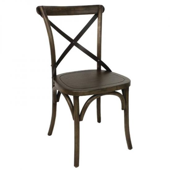 Wooden Dining Chair With Metal Cross Backrest (Pack Of 2) URO GG658