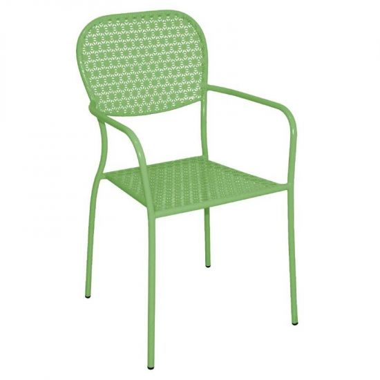Bolero Steel Patterned Bistro Armchairs Green (Pack Of 4) URO GG670