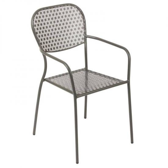 Bolero Steel Patterned Bistro Armchairs Grey (Pack Of 4) URO GG671