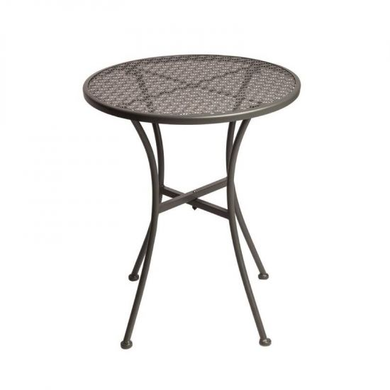 Grey Steel Patterned Round Bistro Table Grey 600mm URO GG703