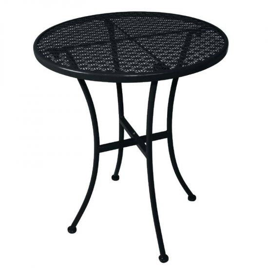 Black Steel Patterned Round Bistro Table Black 600mm URO GG705