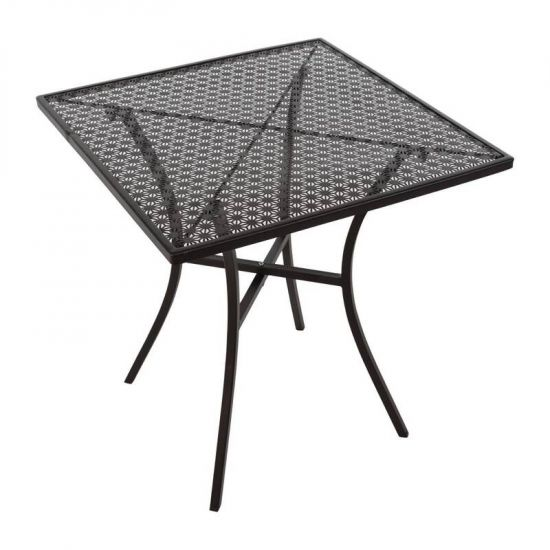 Black Steel Patterned Square Bistro Table 700mm URO GG706