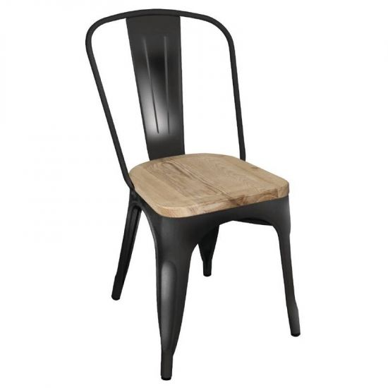 Bolero Steel Dining Side Chairs With Wooden Seatpad Black (Pack Of 4) URO GG707