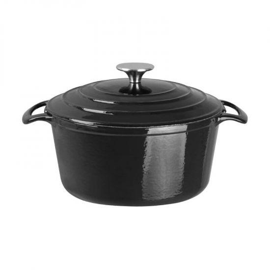 Vogue Black Round Casserole Dish 4Ltr URO GH301