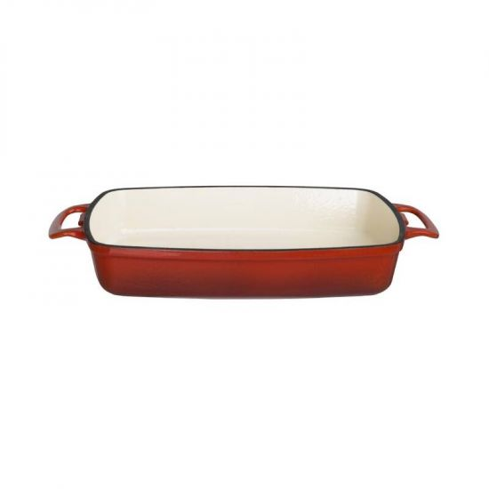 Vogue Red Rectangular Cast Iron Dish 2.8Ltr URO GH320