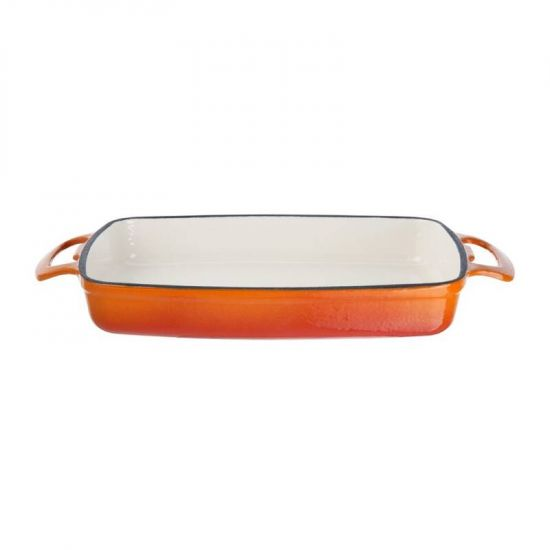 Vogue Orange Rectangular Cast Iron Dish 1.8Ltr URO GH321