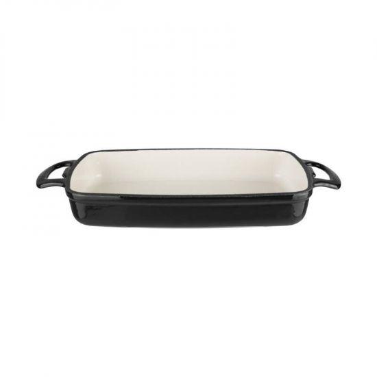 Vogue Black Rectangular Cast Iron Dish 1.8Ltr URO GH323