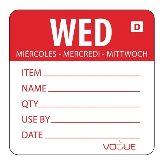 2 Inch Vogue Dissolvable Red Wednesday Labels URO GH353