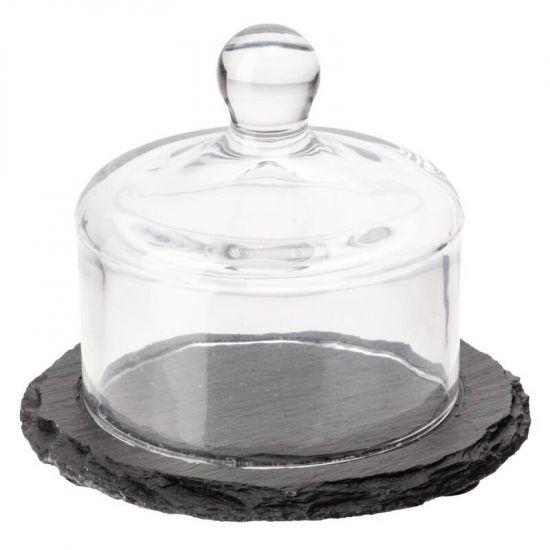 APS Slate Butter Dish Glass Cloche URO GH408