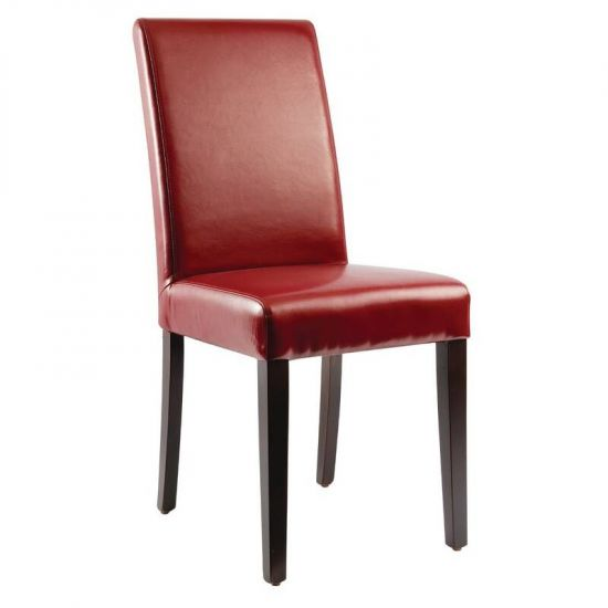 Bolero Faux Leather Dining Chairs Red (Pack Of 2) URO GH443