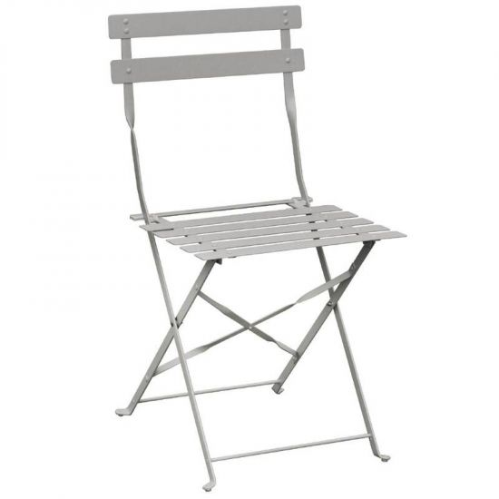 Bolero Pavement Style Steel Chairs Grey (Pack Of 2) URO GH551