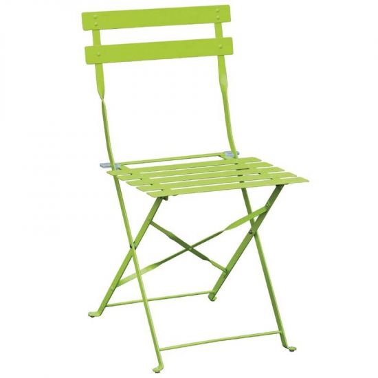 Bolero Pavement Style Steel Chairs Green (Pack Of 2) URO GH552