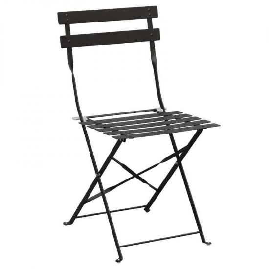 Bolero Pavement Style Steel Chairs Black (Pack Of 2) URO GH553