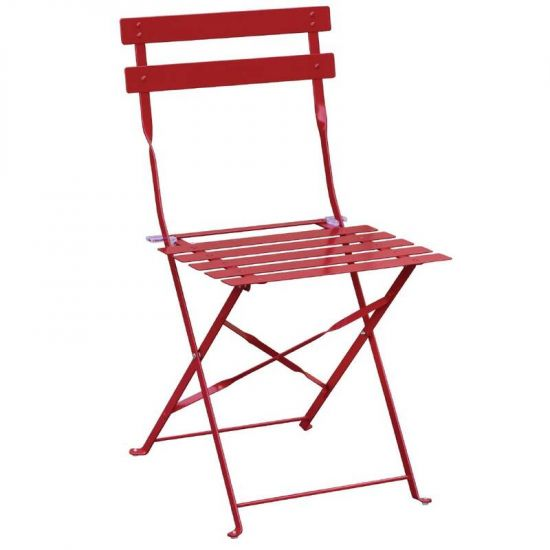 Bolero Pavement Style Steel Chairs Red (Pack Of 2) URO GH555