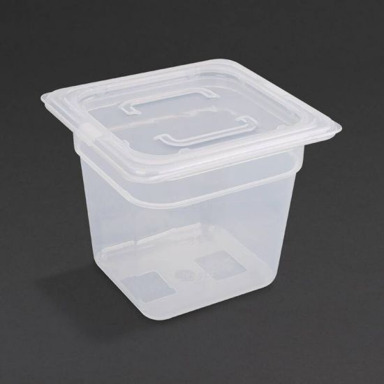 Vogue Polypropylene 1/6 Gastronorm Container With Lid 150mm URO GJ527