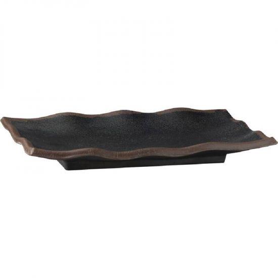 APS Marone Melamine Wavy Tray Black 225x 150mm URO GK838