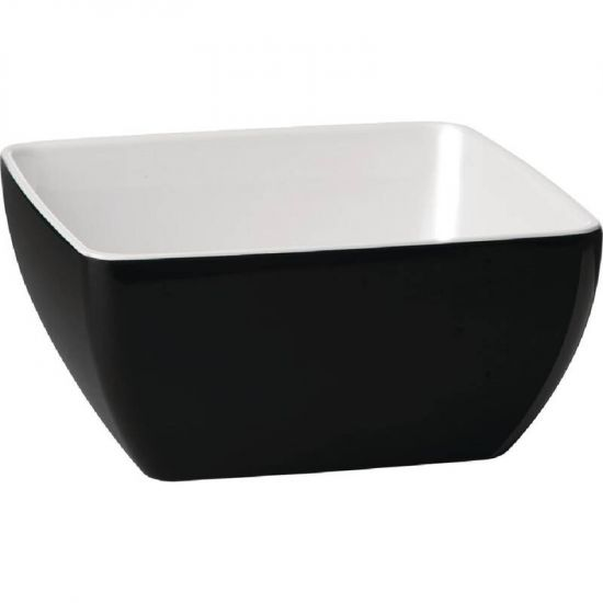 APS Pure Two Tone Bowl Melamine Black And White 250x 250mm URO GK863