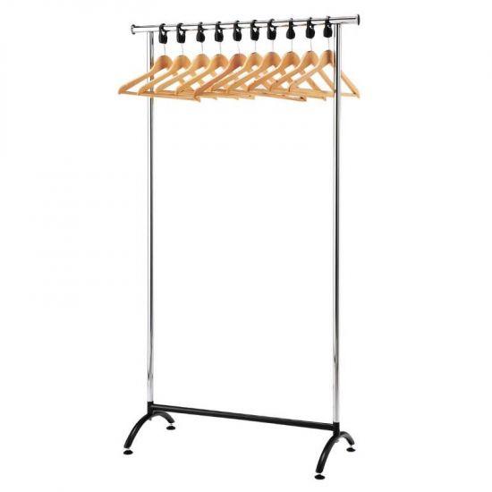 Chrome Coat Rack With 10 Wood Hangers URO GK913