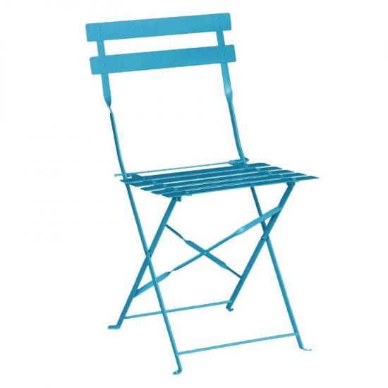 Bolero Pavement Style Steel Chairs Seaside Blue (Pack Of 2) URO GK982