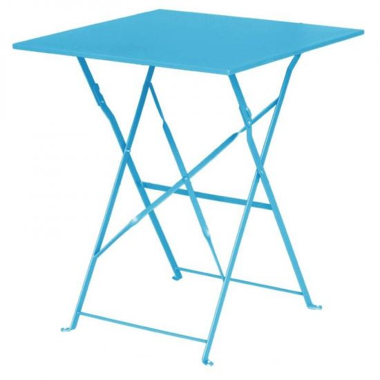 Bolero Seaside Blue Pavement Style Steel Table Square 600mm URO GK985