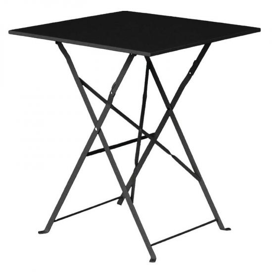 Bolero Black Pavement Style Steel Table Square 600mm URO GK989