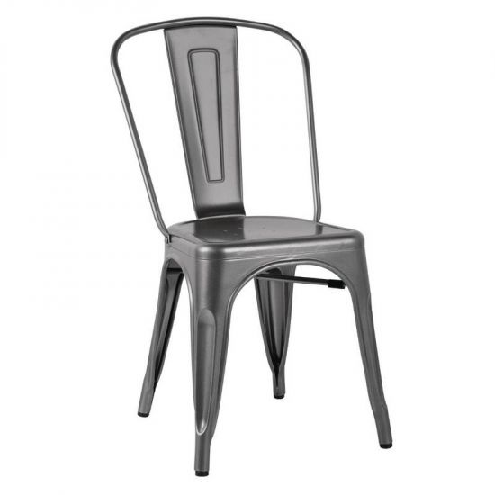 Bolero Bistro Side Chairs Steel Metal Grey (Pack Of 4) URO GL329