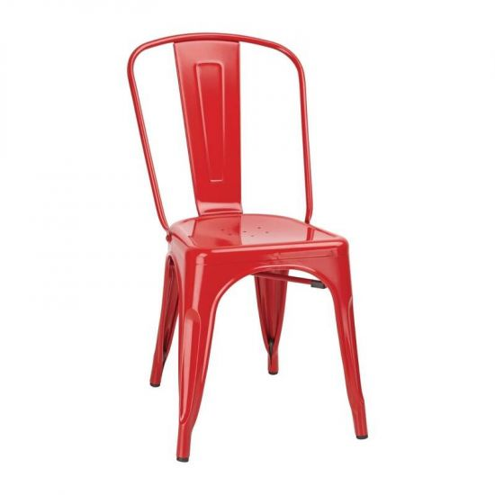 Bolero Bistro Side Chairs Steel Red (Pack Of 4) URO GL330