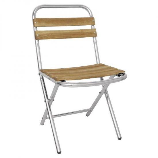 Bolero Ash And Aluminium Folding Chairs (Pack Of 4) URO GL980