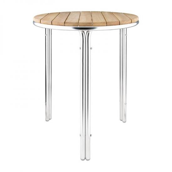 Bolero Round Ash And Aluminium Table 600mm URO GL981