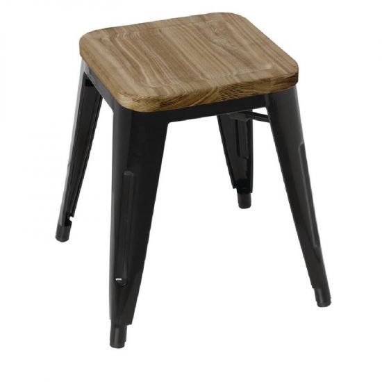 Bolero Black Steel Bistro Low Stools With Wooden Seatpad (Pack Of 4) URO GM635