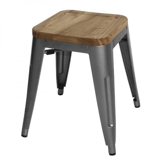 Bolero Grey Steel Bistro Low Stools With Wooden Seatpad (Pack Of 4) URO GM636