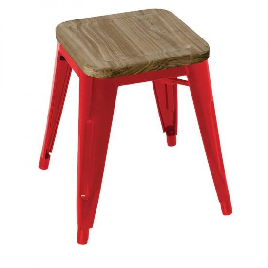 Bolero Red Steel Bistro Low Stools With Wooden Seatpad (Pack Of 4) URO GM637