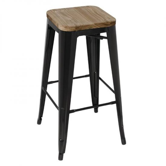 Bolero Black Steel Bistro High Stools With Wooden Seatpad (Pack Of 4) URO GM640