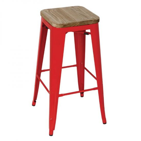 Bolero Red Steel Bistro High Stools With Wooden Seatpad (Pack Of 4) URO GM641