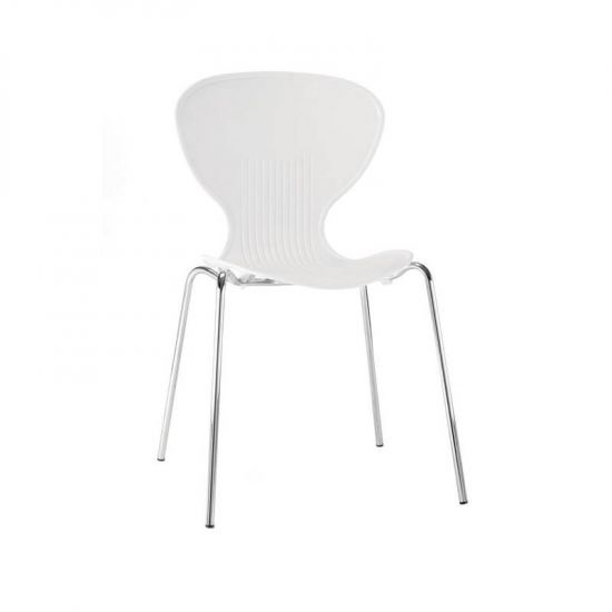 Bolero White Stacking Plastic Side Chairs (Pack Of 4) URO GP501