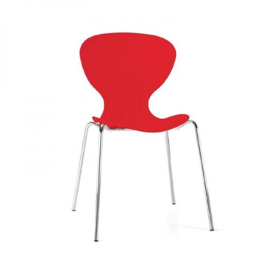 Bolero Red Stacking Plastic Side Chairs (Pack Of 4) URO GP502