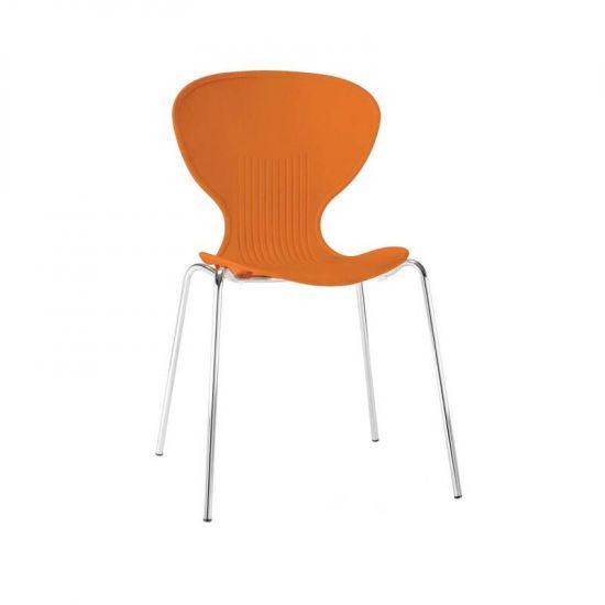 Bolero Orange Stacking Plastic Side Chairs (Pack Of 4) URO GP505