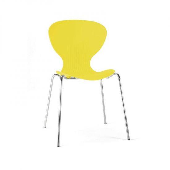 Bolero Yellow Stacking Plastic Side Chairs (Pack Of 4) URO GP508