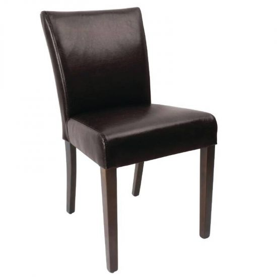 Bolero Faux Leather Contemporary Dining Chair Dark Brown (Pack Of 2) URO GR366