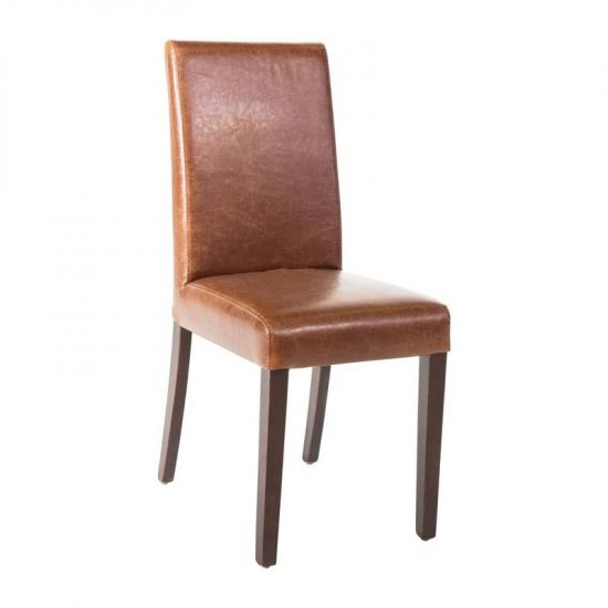 Bolero Faux Leather Dining Chair Antique Tan (Pack Of 2) URO GR368