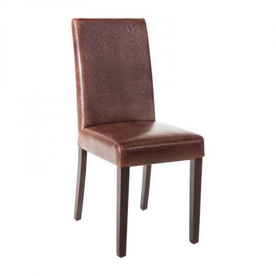 Bolero Faux Leather Dining Chair Antique Brown (Pack Of 2) URO GR369
