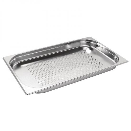 Vogue Stainless Steel Perforated 1/1 Gastronorm Pan 40mm URO K839