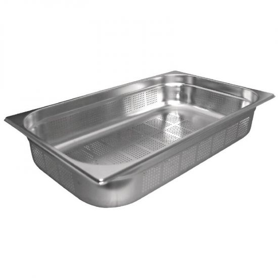 Vogue Stainless Steel Perforated 1/1 Gastronorm Pan 65mm URO K840