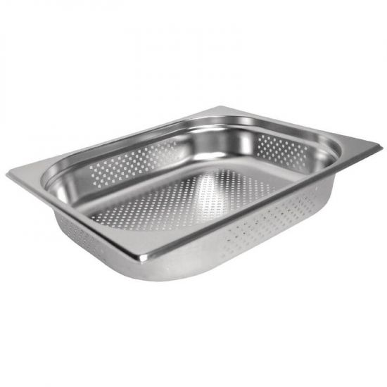 Vogue Stainless Steel Perforated 1/2 Gastronorm Pan 100mm URO K845