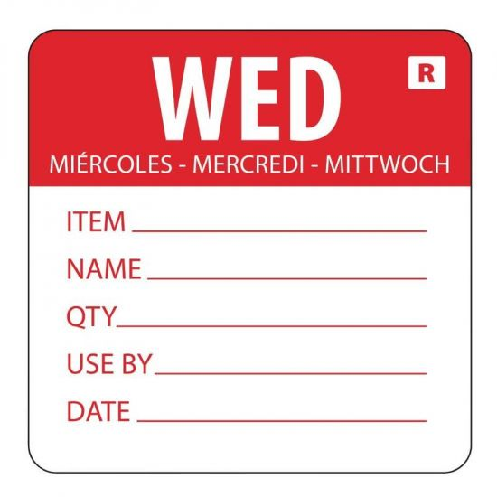 2 Inch Removable Wednesday Day Of The Week Label URO L068