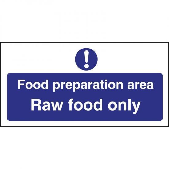 Vogue Food Preparation Area Raw Food Only Sign URO L846