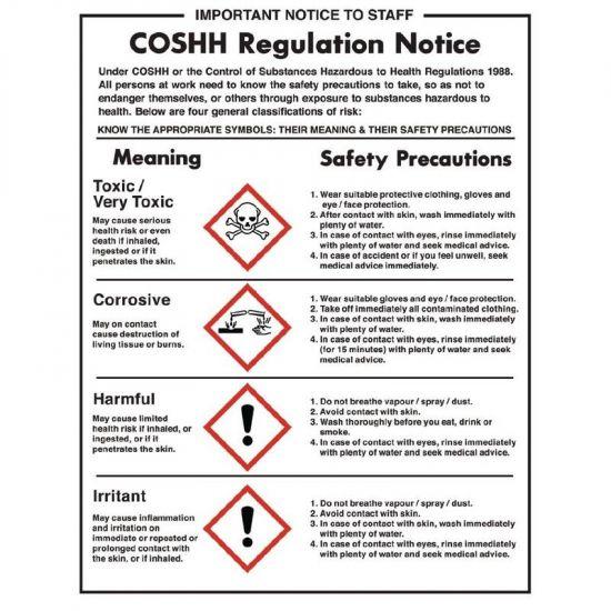 Vogue COSHH Regulations Sign URO L903