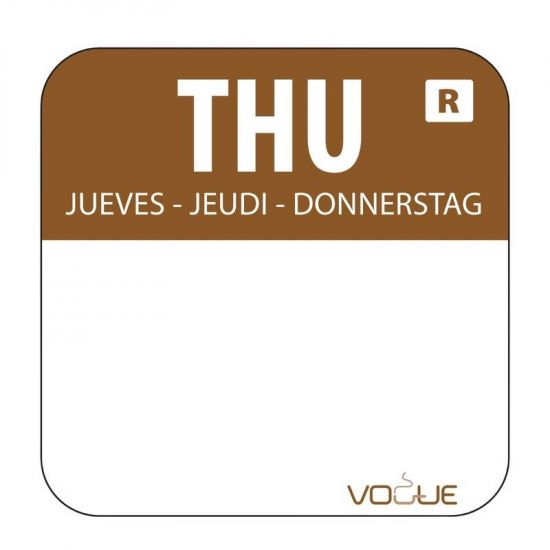 1 Inch Colour Coded Brown Thursday Food Labels URO L934