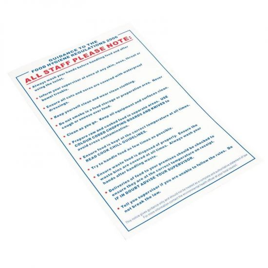 Vogue Food Safety Act 1995 Guidance Sign URO L951
